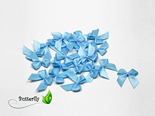 20 Stück Satinschleifen 2,5x3cm (hell blau 311) // Deko Schleifen für Hochzeit Taufe Kommunion Applikation Streudeko einfarbig