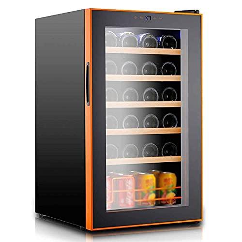 Refrigerador para Vinos, Independiente, Ultrafrío, Mini Refrigerador para Bebidas, 5-18 ° C, Temperatura Ajustable, Control Táctil, Refrigerador para Bebidas, con Pantalla Led, Capacidad para 24 BOT