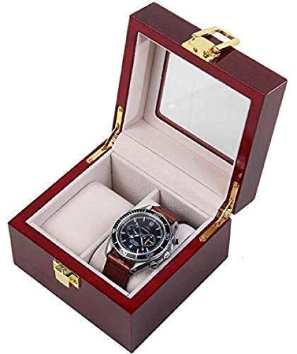 HUAQINEI Caja de Reloj Caja de Madera de 2 Ranuras con Soporte de Almacenamiento de exhibición de Vidrio Hebilla de Metal Caja de Almacenamiento de Pulsera de joyería de muñeca Desmontable