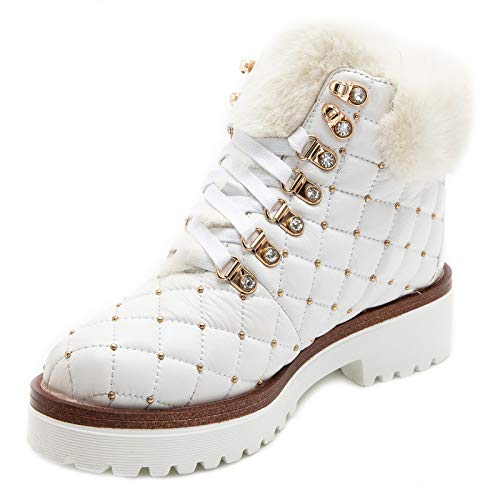JWJ Women's Snow Boots Genuine Leather Suede Thermal Booties Thickening Platform Winter Plush Short Boots Shoes, 9.5 White