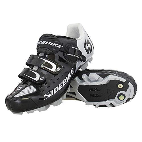 SIDEBIKE Zapatillas de Ciclismo para Adultos, Zapatillas de Bicicleta de Montaña Resistente al Viento Transpirable con Plantilla de Amortiguación (41, Negro)