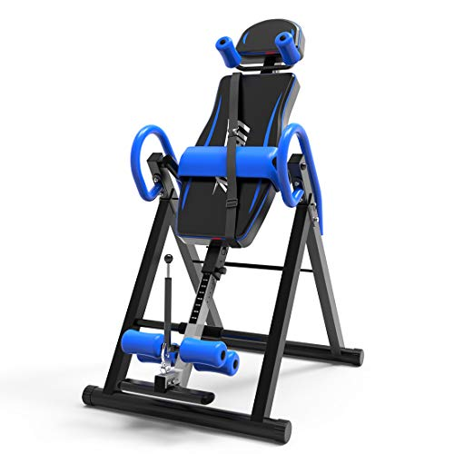 UBOWAY Heavy Duty Inversion Table - with Headrest & Adjustable Protective Belt Back Stretcher Machine for Pain Relief Therapy (Blue)