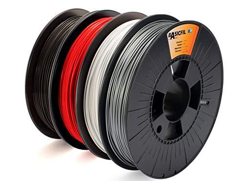 BASICFIL combipack PLA 1.75mm, 4 x 500 gr filamento per stampante 3D, Nero, Bianco, Rosso, Argento