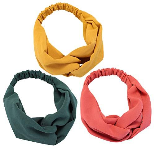 Haarband mit gedrehtem Knoten, weich, modisch, einfarbig, elastisch, für Damen, Rosa, Gelb, Grün, 3 Stück