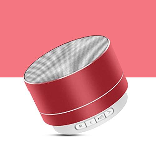 Release Altavoz Bluetooth inalámbrico portátil subwoofer música Envolvente Altavoz micrófono y teléfono portátil batería incorporada Tarjeta TF (Color : Red)