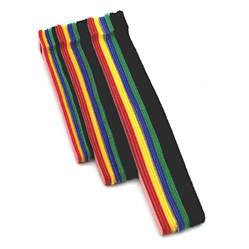 DELSEN 50 Stück 5 Farben Wiederverwendbares Klettband Kabelbinder für zu Hause und im Büro Kabelveredelung (125/150/200mm)