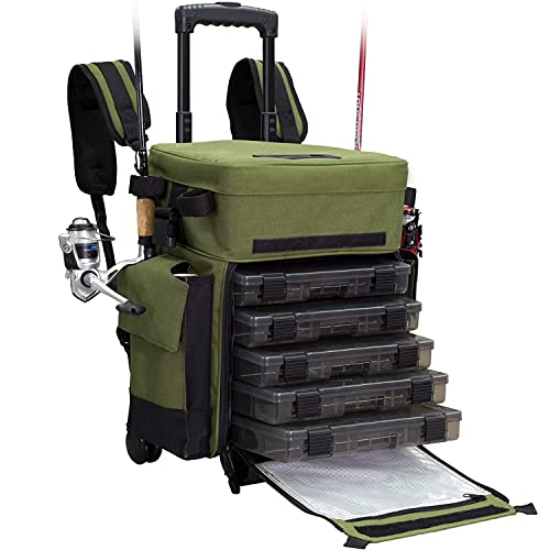 Elkton Outdoors Rolling Fishing Tackle Box X-Large Waterproof Storage Bag Backpack - with 5 Removable Tackle Trays and 4 Rod Holders - Fisherman Gifts for Men, Fish Tackle Bag, Roller Tackle Box