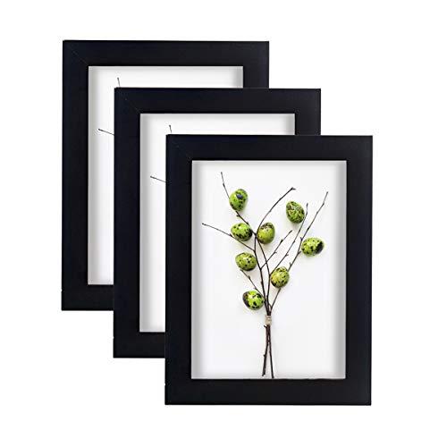 Home&Me 100% Echtholz Bilderrahmen Schwarz 13x18cm 3er Set Fotorahmen mit Echtglas zum aufhängen und aufstellen