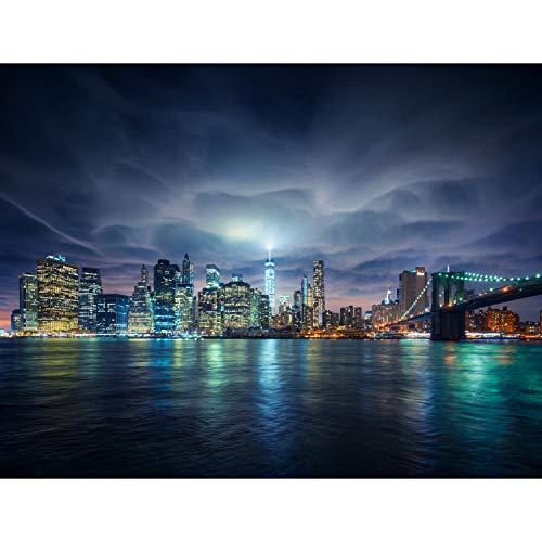 Fototapete New York bei Nacht Vlies Wand Tapete Wohnzimmer Schlafzimmer Büro Flur Dekoration Wandbilder XXL Moderne Wanddeko - 100% MADE IN GERMANY - Blau Runa Tapeten 9210010b