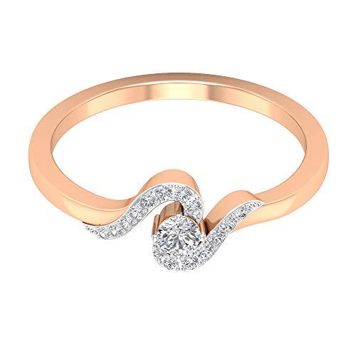 Anillo de boda con diamante certificado de pavé de 1/4 ct, solitario de 3 mm de corte redondo, anillo de compromiso trenzado de oro, antiguo anillo de piedra lateral HI-SI, 14K Oro rosa, Size:EU 53