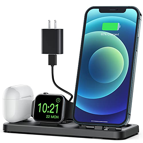 CEREECOO Portable 3 in 1 Charging Station for Apple Products Foldable Charger Stand for iWatch 6/SE/5/4/3/2/1 Charging Stand for iPhone AirPods Pro/2/1 Charging Dock Holder(with 10W Adapter)-Black