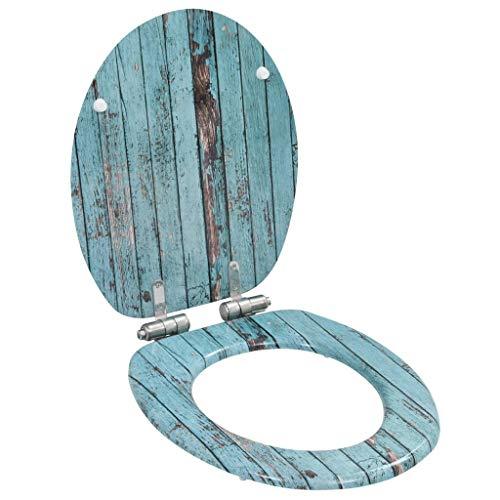 vidaXL Asiento WC Tapa de Cierre Suave MDF Herramientas Componentes Fontanería Bricolaje Accesorios Baño Bidé Inodoro Hogar Diseño Madera Envejecida