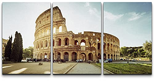 """wall26 - 3 Piece Canvas Wall Art - Colosseum in Rome and Morning Sun, Italy - Modern Home Art Stretched and Framed Ready to Hang - 16""""x24""""x3 Panels"""