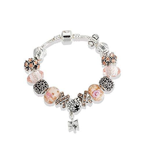 Amzdai Pulsera Pulsera de Mujer,Flor Jigsaw Juego de Colgante con Diamante de la aleación con Incrustaciones de Piedras Preciosas de la galjanoplastia