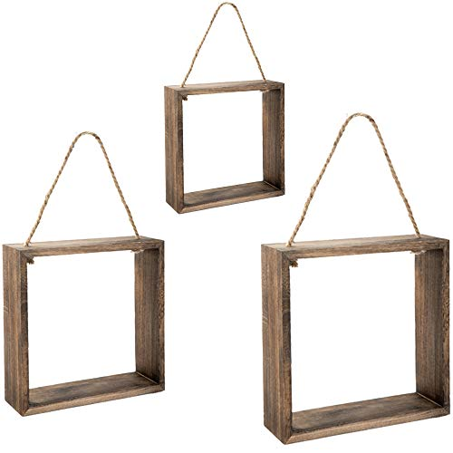 EMAX HOME Hanging Square Floating Shelves Wall Mounted Cube with Rope for Wall Decor Set of 3 Rustic Solid Wood Wall Shelves for Bedroom Bathroom Living Room KitchenDark Brown