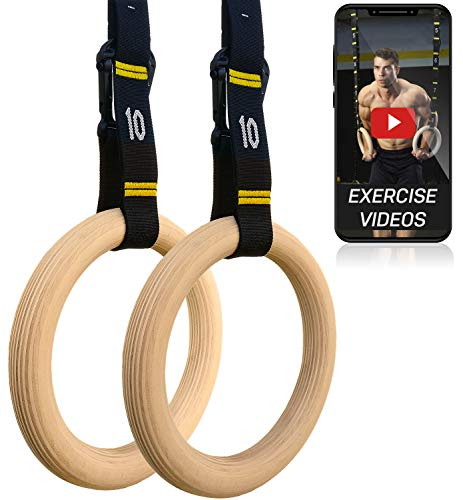Double Circle Wood Gymnastic Rings 1.25 Inch, with Quick Adjust Numbered Straps and Exercise Videos Guide for Full Body Workout, Crossfit, and Home Gym