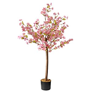 National Tree Company Artificial 4 Foot Cherry Blossom Light Pink Fake Flower Tree Plant – Indoor and Outdoor Plant Includes Pot Base