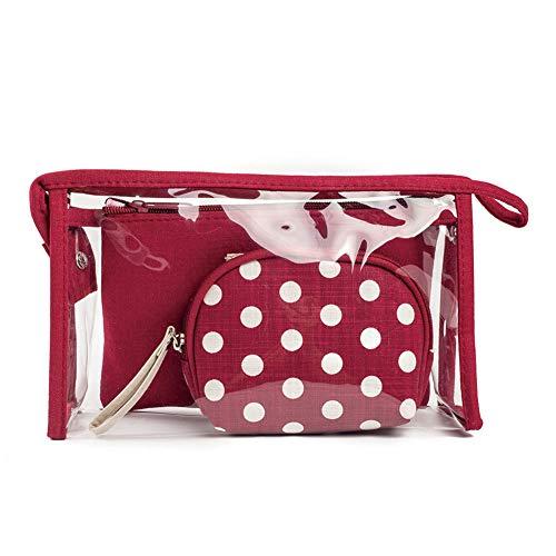 Msyou 1set trousse Wave Point Travel makeup bag Toiletry organizer Wash bag Portable Storage Bag per donne ragazze (blu scuro)