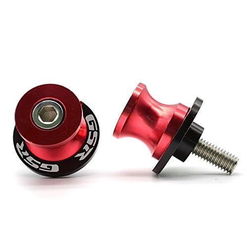 2pcs Diabolos M8*1.5 CNC Aluminio Basculante de Deslizadores Tornillos del Soporte para Suzuki GSR 400 600 750 1000 (Rojo)