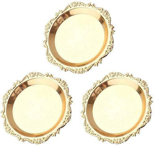 Plato de fruta 3 piezas bandeja de pastel chapada europea adornos de decoración del hogar plato de fruta plato de aperitivo fiesta