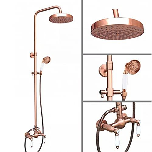 Conjunto de grifo de ducha de lluvia redondo de 8 pulgadas, manijas de cerámica dobles de latón de cobre rojo antiguo, grifo mezclador, ducha de mano