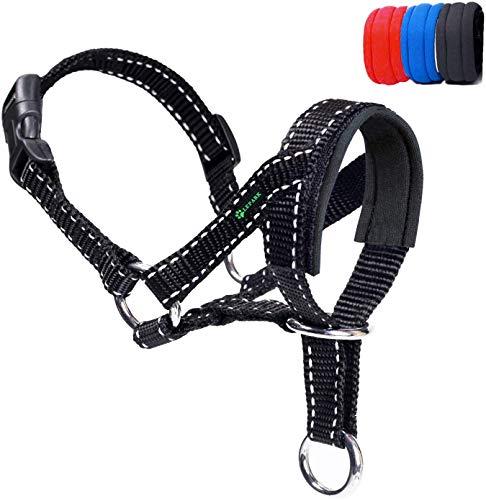 ILEPARK Hundehalfter Mit Reflektierendem Riemen, Halfterhalsband Für Hunde, Verstellbar Und Einfach Zu Kontrollieren. (M,Schwarz)