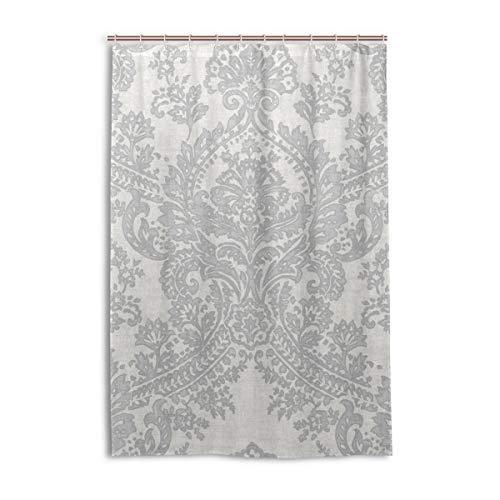 MONTOJ Batik Duschvorhang, Badevorhang, Stoff mit Haken, langlebig & superwasserdicht, 121,9 x 182,9 cm, silberfarben