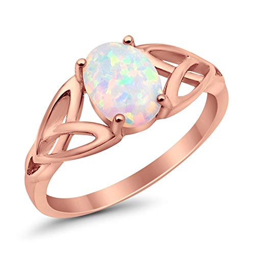 Blue Apple Co. 925 Sterling Silver Solitaire Ring Rose Tone Created White Opal Celtic Shank Ring, Size - 7