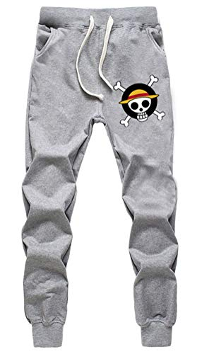 WANHONGYUE Anime One Piece Luffy Jogger Pantalones Deportivos Cosplay Disfraz Largos Sweat Pants Noos Trousers con Bolsillos Gris 12 S