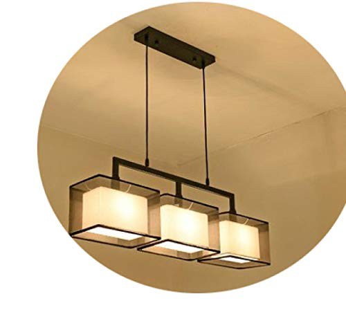 lampadario Restaurante Chino, Dormitorio Moderno Y Minimalista, Estudio, Dos Cabezas, Tres Cabezas, Cuatro Rectángulos de Tela de la Sala de Estar Estadounidense,candelabro,3 Negro