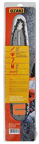 Guía de motosierra 50 cm y cadena 3/8-72E de marca Ozaki.