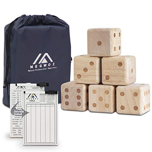 Megwoz Giant 2.0  Wooden Yard Dice Set with 6 Dices|Laminated Yardzee |Farkle Scoreboard|Dry Erase Marker|Durable Carrying Bag, in Outdoor Floor Game Set for Kids & Adults Family