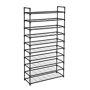 SONGMICS 10-Tier Shoe Rack Shoe Storage Shoe Shelf with Stable Iron Structure Easy to Assemble for About 50 Pairs of Women s Shoes 36 x 11.2 x 69.3 Inches Black ULSM10BK