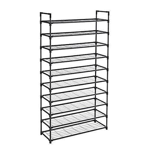 SONGMICS 10-Tier Shoe Rack, Shoe Storage, Shoe Shelf with Stable Iron Structure, Easy to Assemble, for about 50 Pairs of Women's Shoes, 36 x 11.2 x 69.3 Inches, Black ULSM10BK
