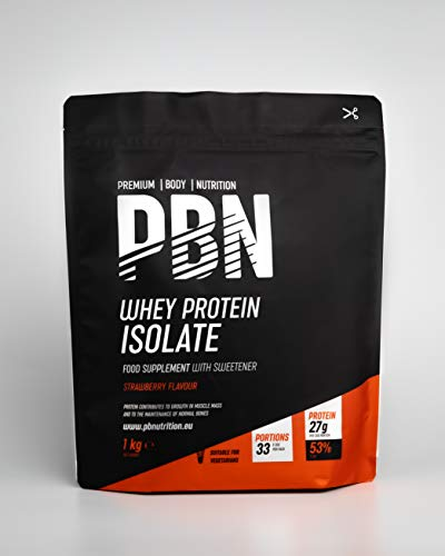 Premium Body Nutrition - Whey-ISOLATE Protein Powder, 1kg, Strawberry - 33 Servings