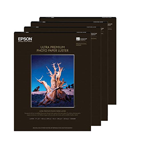 """Epson Ultra Premium Photo Paper Luster 17 x 22"""" 4 Pack (100 Sheets) & Cloth"""