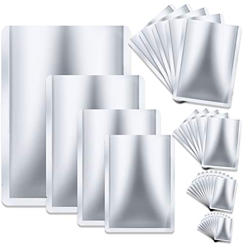 30 Pieces 4 Sizes Mylar Aluminum Foil Bags Metallic Mylar Foil Flat Heat Sealing Bags Storage Bags Pouch for Food Coffee Tea Beans (5 x 7 Inch, 6 x 8 Inch, 7.5 x 10.5 Inch, 10 x 14 Inch)