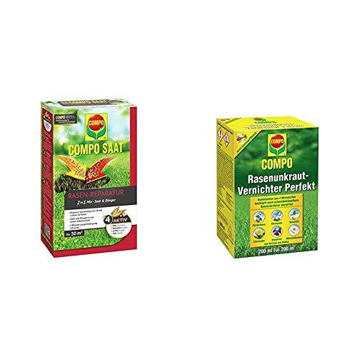 COMPO SAAT Rasen-Reparatur-Mix, Mischung aus Rasensamen und Rasendünger, 1,2 kg, 50 m² & Rasen Unkrautvernichter Perfekt, Vernichtung von schwerbekämpfbaren Unkräutern, Konzentrat, 200 ml (200m²)