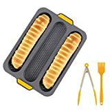 YQWFF Baguette Molde Set 3 Rejilla Anti-Stick Silicona Bread Mold Resistente al Calor Baking Pot Mold KitchenBaking Appliance Cake Food Clip Tool