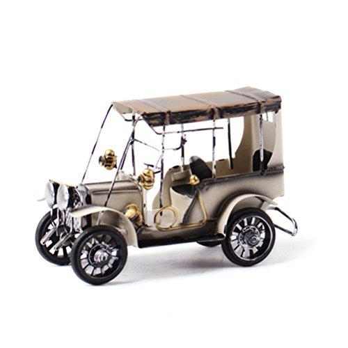 VORCOOL - Modelo de coche de hierro vintage hecho a mano con diseño clásico de coches Retro Artesanía de hierro coleccionable para decoración de oficina en el hogar o escritorio (blanco)