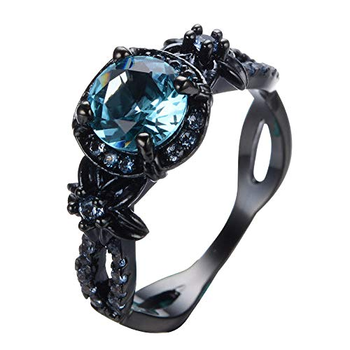 Janly Clearance Sale Women Rings , Ladies Black Copper Alloy Ring With Zircon Inlaid In Eight Colors , Valentine's Day Birthday Jewelry Gifts for Ladies Girls (Light Blue-6)
