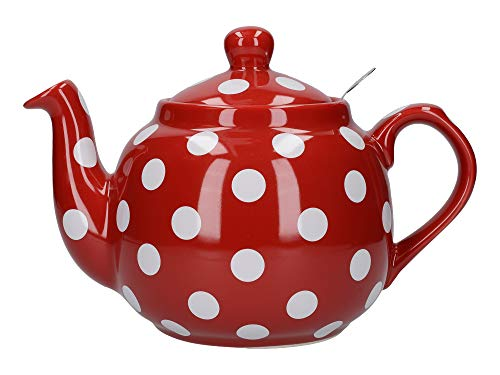 London Pottery Farmhouse Teekanne mit Teesieb gepunktet, keramik, Rot/Weiß gepunktet, 1.2 Litre