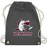 Shirtracer Einhörner - Weinhorn - Unisize - Dunkelgrau - turnbeutel einhorn - WM110 - Turnbeutel und Stoffbeutel aus Baumwolle