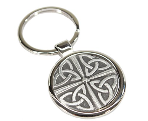 Irish Keychain Celtic Knot Stainless Steel & Pewter Made in Ireland