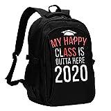 Hdadwy My Happy Class is Outta Here 2020 Zaini da viaggio da uomo e da donna con porte di ricarica USB possono ospitare notebook da 13-16 pollici