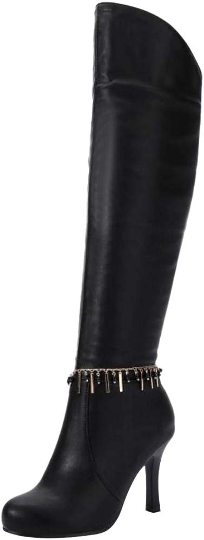 JOJONUNU Women High Heel Knee High Boots