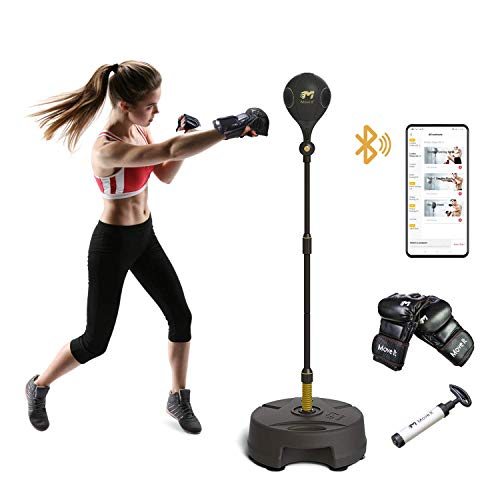 Move It Smart Punching Bag Freestanding Reflex Boxing Ball With Bluetooth Sensor-Adjustable Height(52.7-68In) for Releasing Stress