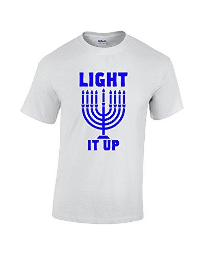 Light it up - Hanukkah Festival of Lights Menorah Funny Tee Jewish Dreidel Star of David Men's T-Shirt (Medium, White)