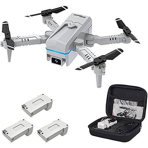 LXFZX Drone con Fotocamera per Adulti Piccolo Pieghevole PIEGHTERNER 1080P HD Drone per Bambini La Fotocamera HD 4K Batteria 3 Aerial Photography può Essere azionata con Un WiFi Smartphone,Bianca