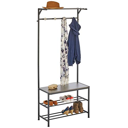 mDesign Coat Rack and Bench Organizer System Storage Unit, 4 Hooks Holds Jackets, Scarves, Purses, Hats, Leashes, Shoes, Boots for Bedroom, Hallway, Entryway 2-Tier Storage Bench- Black/Gray Wood Wash